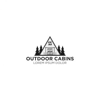 Logotipo de cabina al aire libre - casa al aire libre - casa árbol bosque