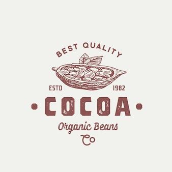 Logotipo de cacao orgánico en grano