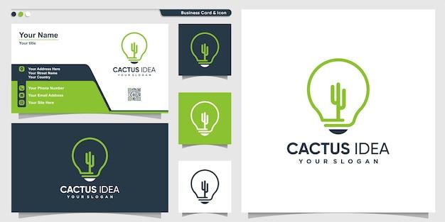 Logotipo de cactus con estilo de arte de línea de idea y diseño de tarjeta de visita, plantilla