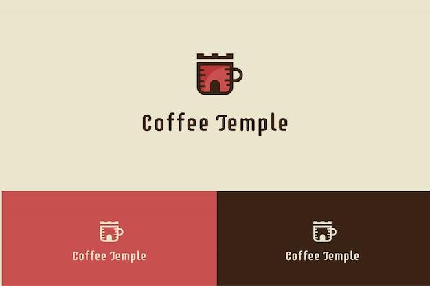 Logotipo del café con la ilustración de la copa del templo