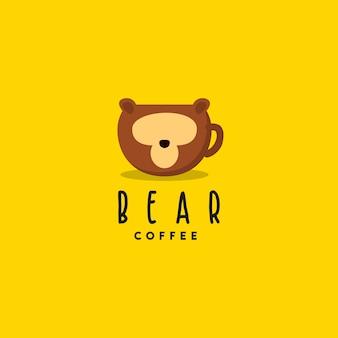 Logotipo de café oso creativo