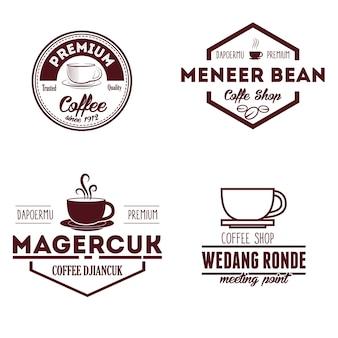 Logotipo de cafetería y distintivos