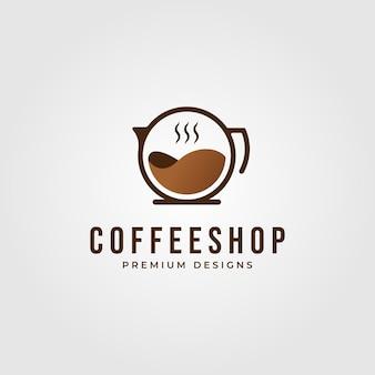 Logotipo de cafetería minimalista aislado en gris