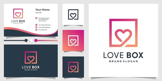 Logotipo de caja de amor con estilo moderno y diseño de tarjeta de visita vector premium