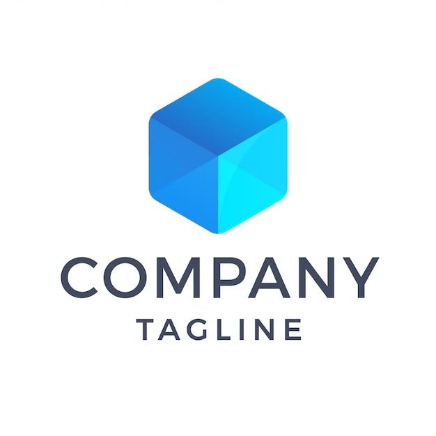 Logotipo de caja de cristal transparente azul moderno abstracto