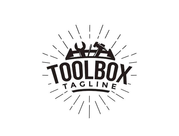 Logotipo de caja de herramientas mecánica industrial simple abstracto