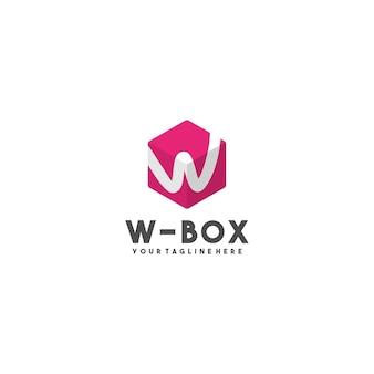 Logotipo de caja de letra w creativa