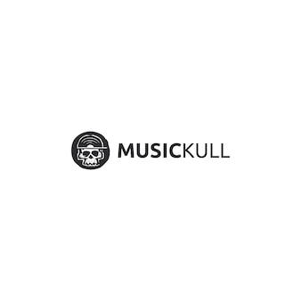 Logotipo de calavera de música