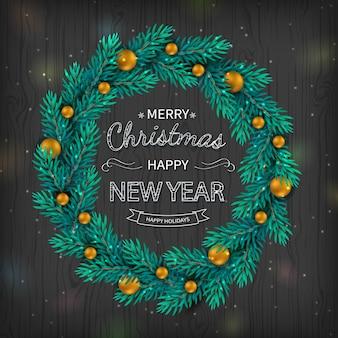 Logotipo caligráfico de las bolas de oro de la guirnalda de la navidad en fondo de madera negro. fondo de vacaciones