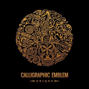 Logotipo caligráfico elegante dorado