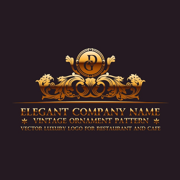 Logotipo caligráfico de lujo y monograma dorado vintage