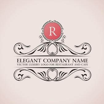 Logotipo caligráfico de lujo y monograma vintage r