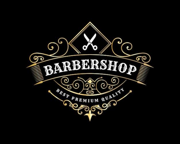 Logotipo caligráfico victoriano brillante de lujo real antiguo con marco ornamental para peluquería, peluquería, spa de belleza