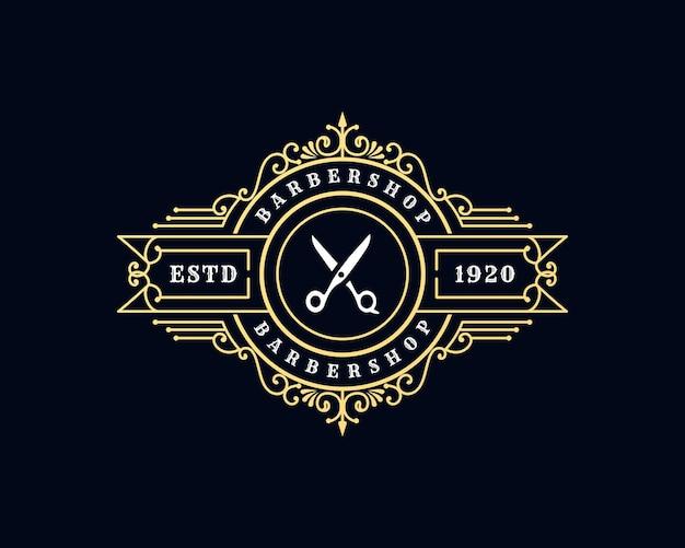 Logotipo caligráfico victoriano de lujo real antiguo con marco ornamental para peluquería de barbería