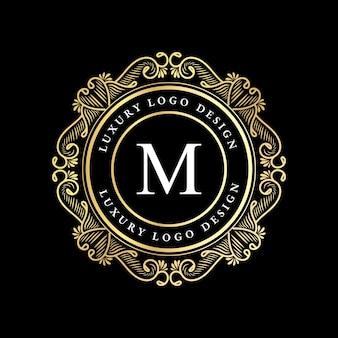 Logotipo caligráfico victoriano de lujo real antiguo con marco ornamental.