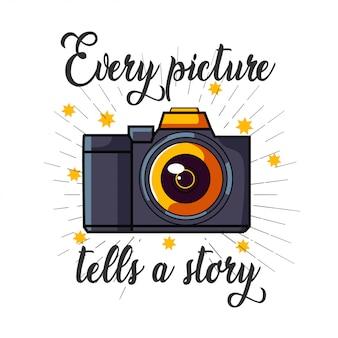 Logotipo de la cámara dslr para el diseño de la camiseta.