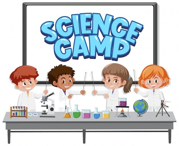Logotipo del campamento de ciencias con niños disfrazados de científico.