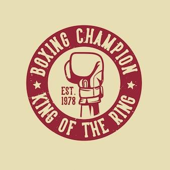 Logotipo del campeón de boxeo