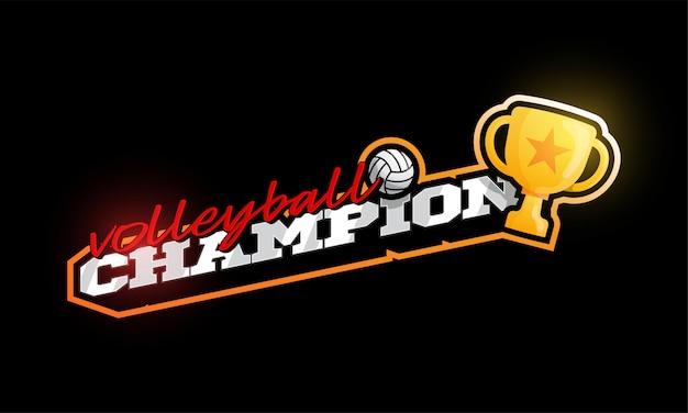 Logotipo de campeón de voleibol.