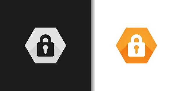 Logotipo de candado hexagonal