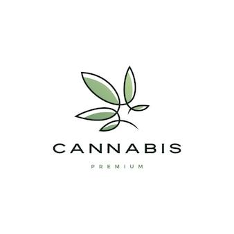 Logotipo de cannabis con línea continua