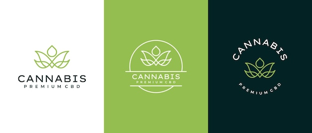 Logotipo de cannabis minimalista con concepto de gota