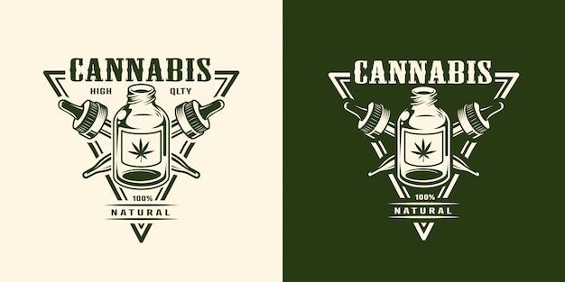 Logotipo de cannabis monocromo vintage