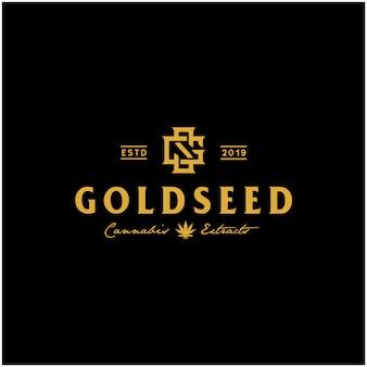 Logotipo de cannabis vintage golden cbd de lujo