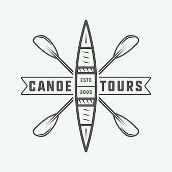 Logotipo de canoa y rafting vintage