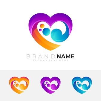 Logotipo de caridad con ilustración de diseño de corazón