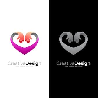 Logotipo de caridad con logos de amor.