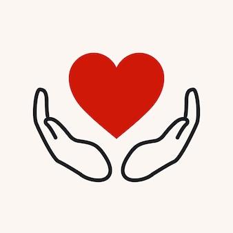 Logotipo de la caridad, manos apoyando la ilustración de vector de diseño plano de icono de corazón