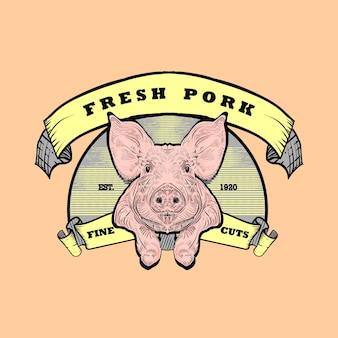 Logotipo de carne de cerdo fresca. ilustración de grabado vintage con cinta.