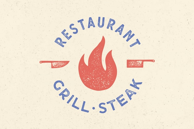 Logotipo de carne logotipo para restaurante grill house con icono de fuego, cuchillo