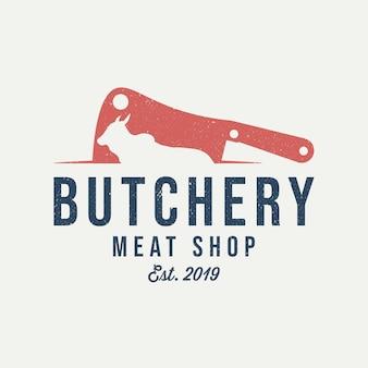 Logotipo de la carnicería. cuchillo de carne. emblema vintage de tienda de carne.
