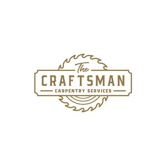 Logotipo de carpintería artesanal retro vintage