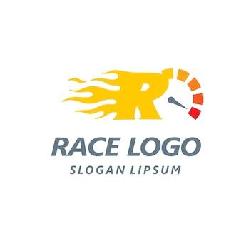 Logotipo de carreras con la letra r