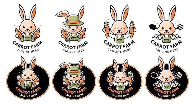 Logotipo de carrot farm con mascota de dibujos animados de conejo