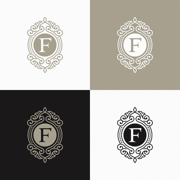 Logotipo de carta de lujo. logotipo de diseño floral simple y elegante, diseño de logotipo de vector de lujo lineal elegante