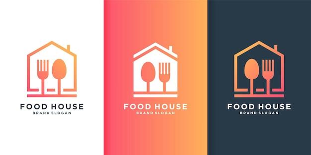Logotipo de la casa de alimentos con concepto de arte lineal