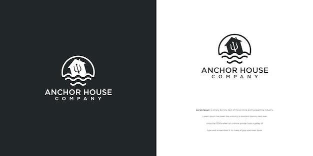 Logotipo de la casa de anclaje en el agua