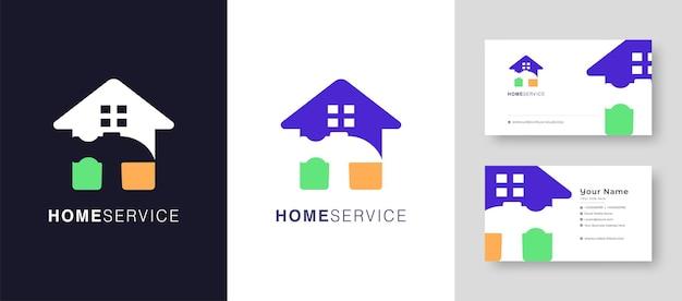 Logotipo de casa de bienes raíces reparar casa o pueblo diseño de logotipo vectorial con una tarjeta de visita premium