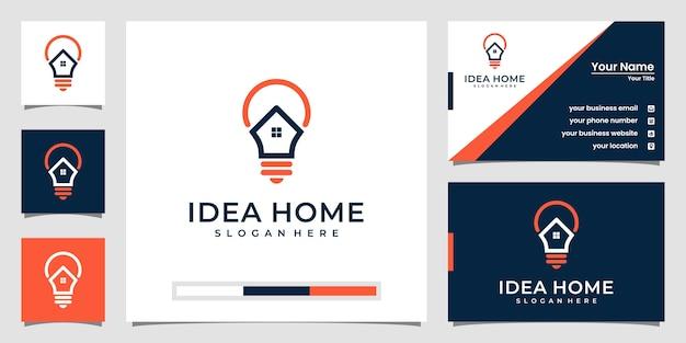 Logotipo de casa de bombilla creativa y tarjeta de visita.