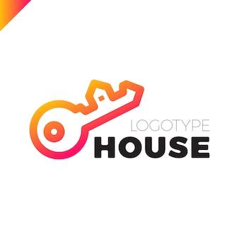Logotipo de la casa clave de seguridad para el hogar