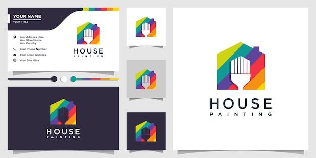 Logotipo de la casa con concepto de pincel de pintura de color y negocio
