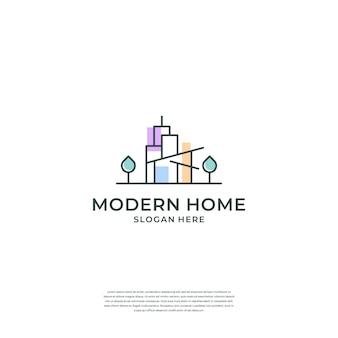 Logotipo de la casa creativa con línea y concepto moderno.