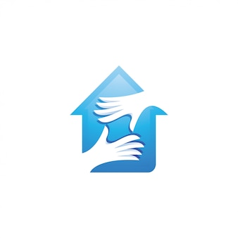 Logotipo de la casa y el cuidado de las manos