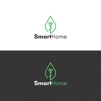 Logotipo de casa ecológica smart
