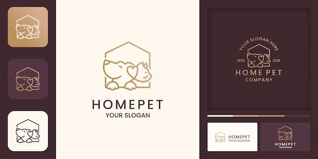 Logotipo de la casa de mascotas con estilo de línea y tarjeta de visita.