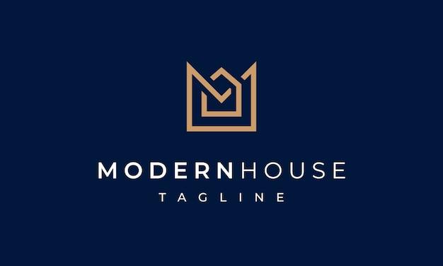 Logotipo de la casa moderna letra m para bienes raíces